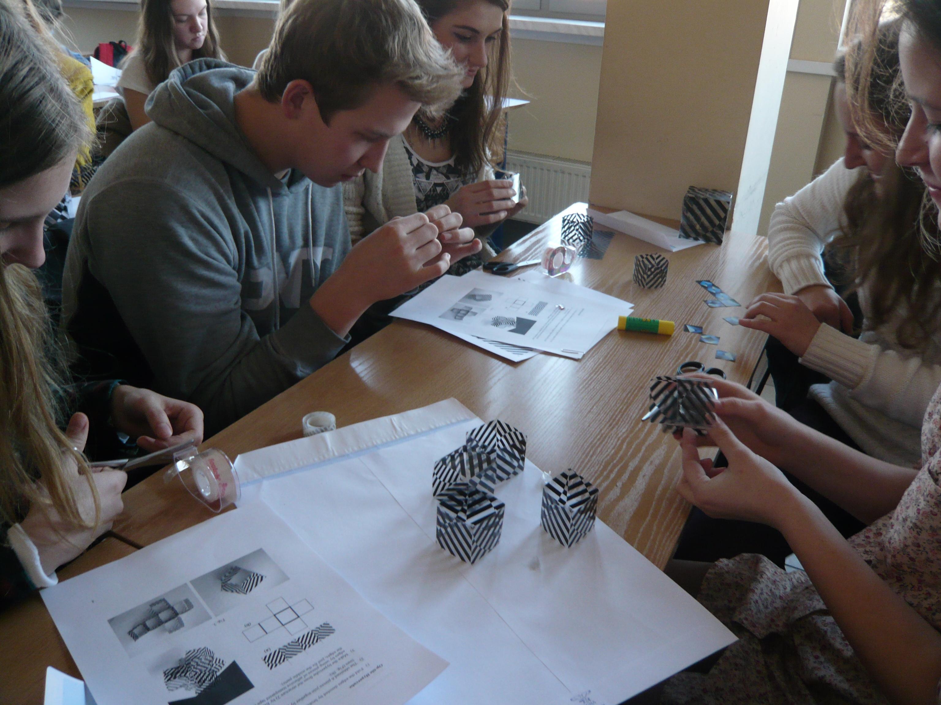 Polish students at Slavik Jablan's Visual mathematics workshop in Wroclaw